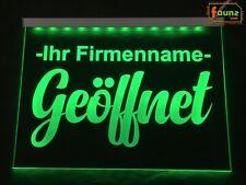 """LED Werbeschild Leuchtreklame """"Geöffnet + Firmenname"""" grün, Farbe Montage wählb"""