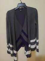 ST. JOHN Gray Open Front Wool&Rayon Blend Long Sleeves Cardigan Sweater Size S
