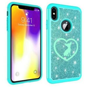 For Apple iPhone Glitter Bling Shockproof Protective Case Cover Chihuahua Heart