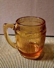 Fenton Pressed Amber Glass Barrel Cup Miniature Mug Toothpicks Shots