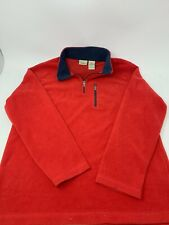 LL Bean Half Zip Red Microfleece Pullover Sz M Medium 10-12 kids boys girls