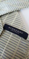"""Men's Burberry London Silver Striped 100% Silk Neck Tie Made in Italy 4"""" x 58"""""""