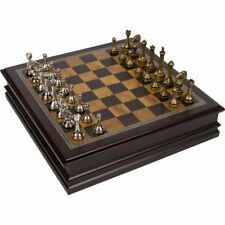 Metal Chess Set With Deluxe Wood Board Storage 12 Inch Game Box Wooden Vintage