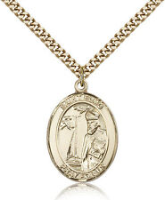 "Saint Elmo Medal For Men - Gold Filled Necklace On 24"" Chain - 30 Day Money B..."