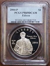2004-P Thomas Edison Silver Dollar, PCGS PR-69 DCAM