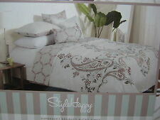 NEW STYLE HAPPY Lorenna King DUVET COVER & Shams Set Brown Tan Beige Paisley
