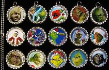 15 The Grinch Silver Flat Bottle Cap Necklaces Set 2