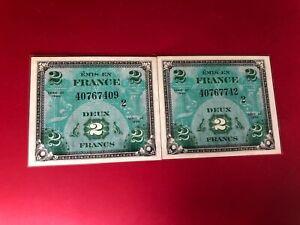 Plein De Deux ! 1944 France 2 Francs Militaire Note, Bon État