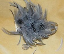 BIG GRAY STEAM PUNK BURLESQUE FEATHER TRIBAL Belly Dance Dancing Hair CLIP PIN