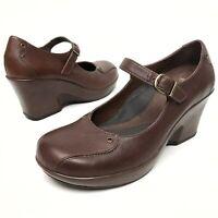 @@ Dansko Women's Brown Wedge Mary Jane Shoes Sz 41 US 10-10.5 Leather Platform