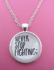PUNTO e Virgola mai smettere di combattere; collana d'argento nuova consapevolezza salute mentale