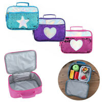 1Pc Shining Sequin Insulated Lunch Box Bag with Smooth Zipper Front Pocket Cute