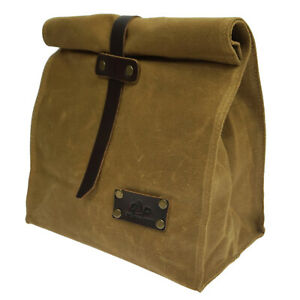UK Classic Waxed Canvas Lunch Bag Lunch Box For Women Men Genuine Leather