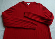 Thick 100% Cashmere Solid Red V-Neck Sweater - Medium Mens Pullover Apt 9