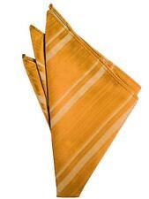 Mandarin Orange Striped Satin Handkerchief-pocket square-hankie  NEW