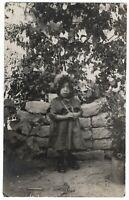 Antique child photo Turkish little girl in garden children found RPPC *6531F