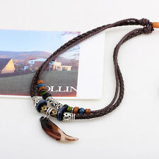 New Men Antique Wolf Tooth Pendant Necklace Vintage Wolf Tooth Pendant Necklace