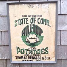 Vintage 1920's Framed Farm Packaging Advertising Paper Potato Bag