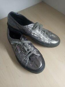 Ladies Superga Silver Glittery Lace Up Pumps Trainers Size UK 6.5 EU 40