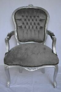 LOUIS XV ARM CHAIR FRENCH STYLE CHAIR VINTAGE GREY VELVET SILVER WOOD