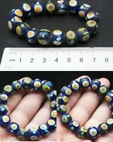 Unusual Rare Blue Ancient Roman Glass Occasional Eye Bead Braclet #A618