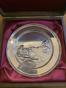 12 oz .925 Sterling Silver Creation Of Adam Plate Michelangelo 381.6 grams Scrap