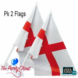 2 ENGLAND ST GEORGE CROSS CAR FLAGS Football World Cup Euros Window Flags PG078