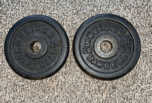 """WEIDER 5 lb Barbell Weights Plates x 2 Standard 1"""" Hole 10 lbs Total"""