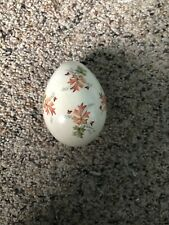 Vintage Beautiful Painted Porcelain Egg Fall Color Floral 2.75 inches long