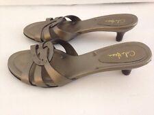 Cole Haan Pewter Strappy Sandals 7.5 AA Studs Kitten Heels