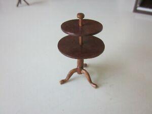 Doll House Miniature 1:12 Mahogany 2 Tier Server/Silent butler