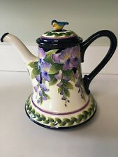Blue Sky Clayworks Wisteria Flower Tea Pot by Jeanette McCall