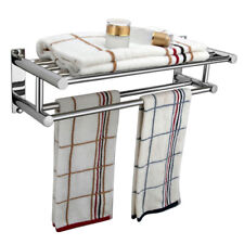 Double Chrome Wall Mounted Bathroom Towel Rail Holder Storage Rack Shelf Bar