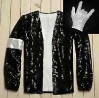 Michael Jackson Costume Dress MJ Billie Jean Jacket Coat Free Billie Jean Glove
