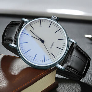 Fashion Men's Casual Analog Quartz Wrist Business Black Luxury Leather Watches