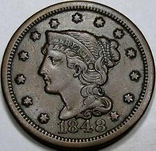 1848 Braided Hair Large Cent Choice AU+ Coin... Nice and Original, N-20 Variety!