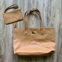 NWOT Joy Mangano Zipper Leather Tote & Wallet Bag