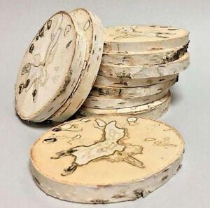BIRKE TOP-OPTIK Holzscheiben Astscheiben Baumscheibe Deko Gesteck 10 St. 8-10 cm