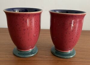 Pair Of  Denby Harlequin Mugs. Footed, red,green & blue.