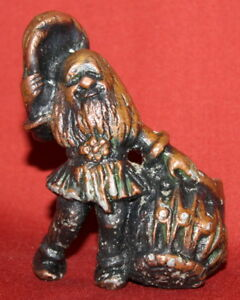 Vintage Handcrafted Copper Plated Metal Dwarf With Basket Figurine