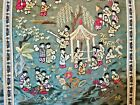VINTAGE AUTHENTIC JAPAN ART GREEN SILK WALL TAPESTRY
