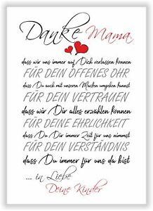 Geschenk Muttertag Geschenkidee von den Kindern DANKE MAMA Liebeserklärung Mama