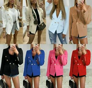 Women's Gold Button Blazer Ladies Double Breasted Military Formal Office Jackets