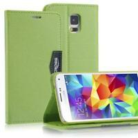 Livre Coque Pour Samsung Galaxy S5 i9600 Anthracite Vert Fermeture Aimant Étui