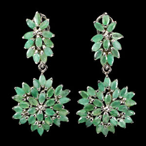 Unheated Marquise Emerald 5x2.5mm White Gold Plate 925 Sterling Silver Earrings