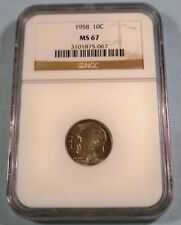 1958 NGC MS67 ROOSEVELT DIME SILVER 10c MS 67