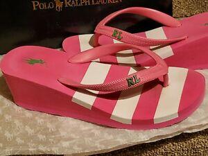 Ralph Lauren Polo Ladies Flip Flops Size Uk 4 SUMMER SHOES EX Con Boxed Gift