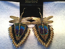 GOLD  PEACOCK FEATHER BEADED EARRINGS DRAGON FLY  CAP 80's VINTAGE