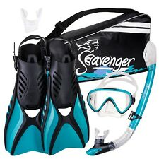 Used Seavenger Beach Adult Dry Top Snorkel Mask Fins Bag Diving w/New Mouthpiece
