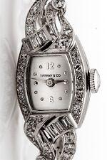 Vintage 1950s Tiffany & Co Platinum 2ct VS G Diamond Ladies Watch WTY